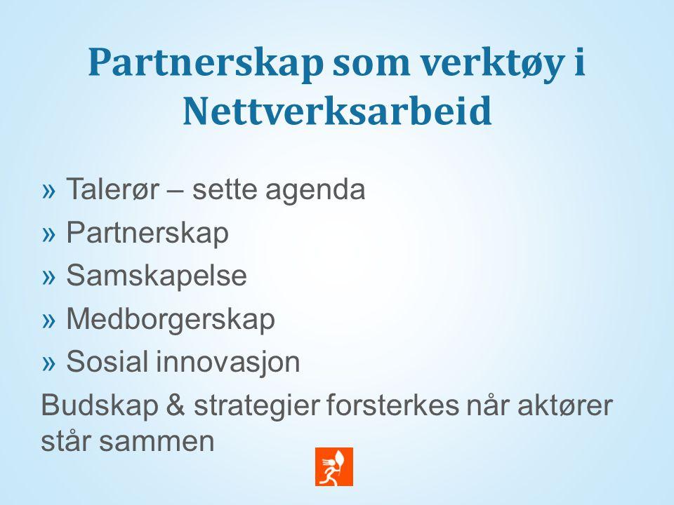 Partnerskap som verktøy i Nettverksarbeid  Talerør – sette agenda  Partnerskap  Samskapelse  Medborgerskap  Sosial innovasjon Budskap & strategie