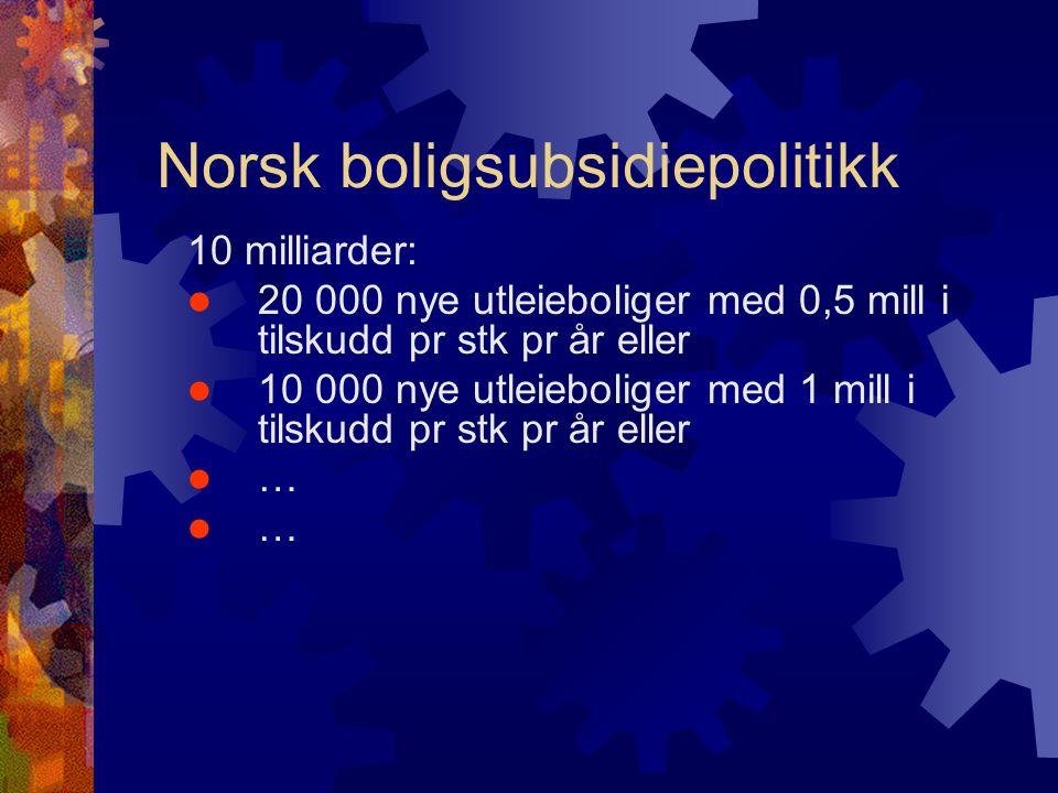 Norsk boligsubsidiepolitikk 10 milliarder:  20 000 nye utleieboliger med 0,5 mill i tilskudd pr stk pr år eller  10 000 nye utleieboliger med 1 mill i tilskudd pr stk pr år eller  …