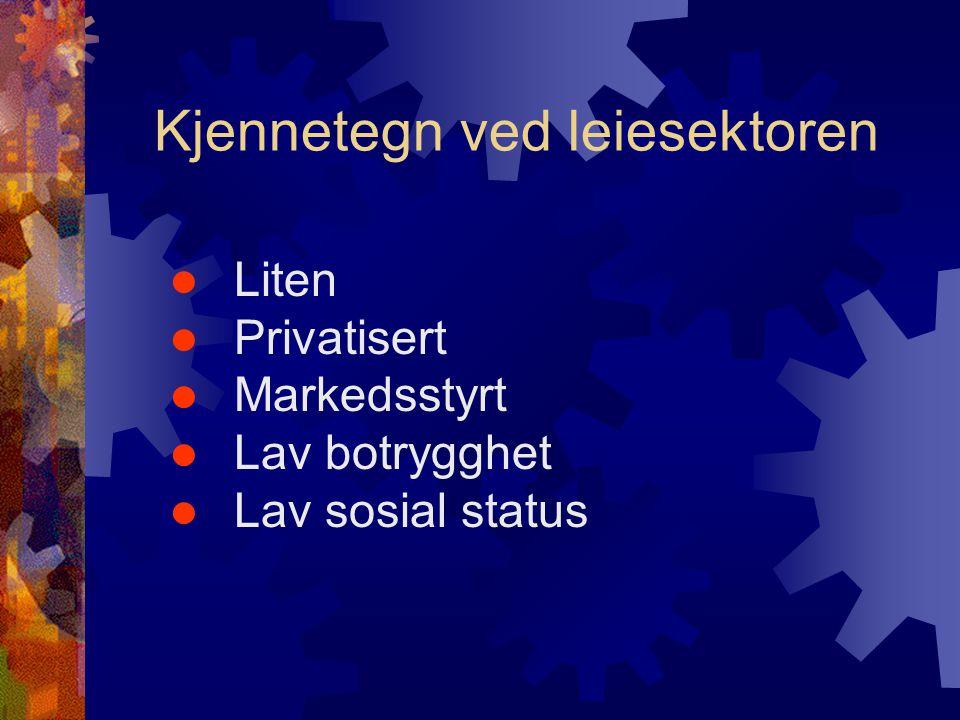 Kjennetegn ved leiesektoren  Liten  Privatisert  Markedsstyrt  Lav botrygghet  Lav sosial status