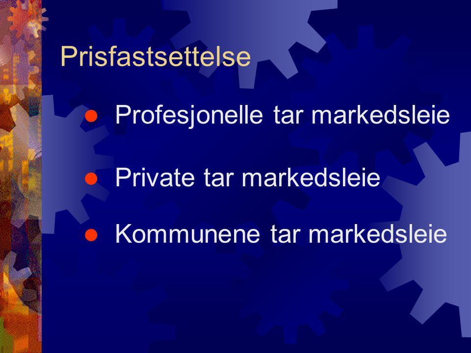  Profesjonelle tar markedsleie  Private tar markedsleie  Kommunene tar markedsleie Prisfastsettelse