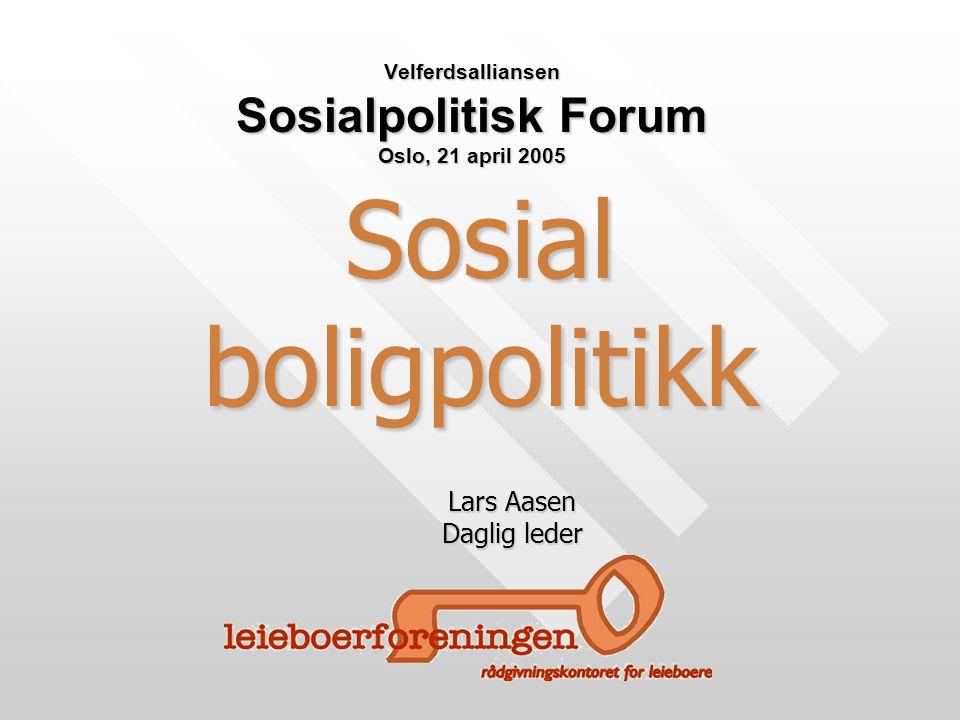 Sosial boligpolitikk Velferdsalliansen Sosialpolitisk Forum Oslo, 21 april 2005 Lars Aasen Daglig leder