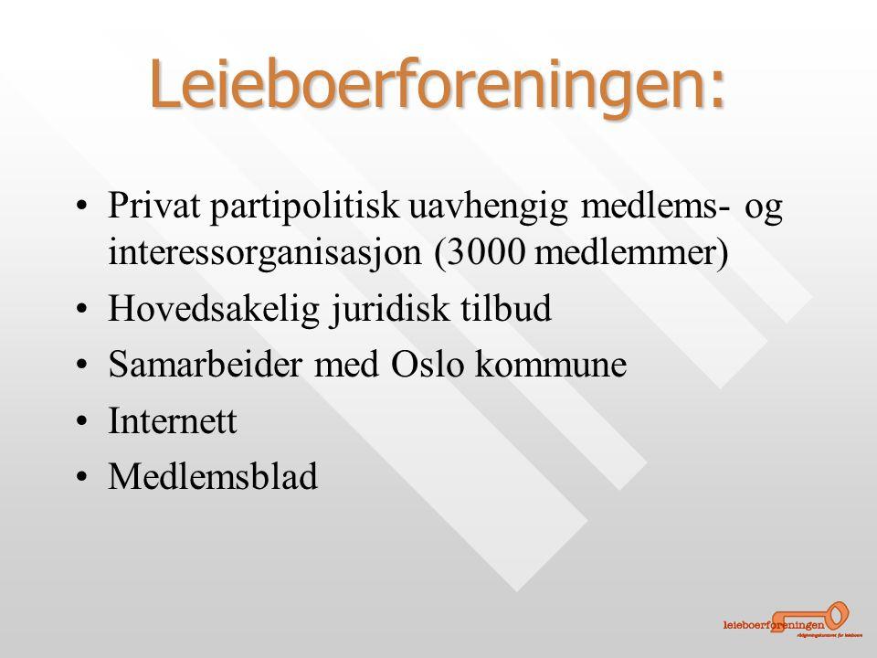 Leieboerforeningen: • •Privat partipolitisk uavhengig medlems- og interessorganisasjon (3000 medlemmer) • •Hovedsakelig juridisk tilbud • •Samarbeider med Oslo kommune • •Internett • •Medlemsblad