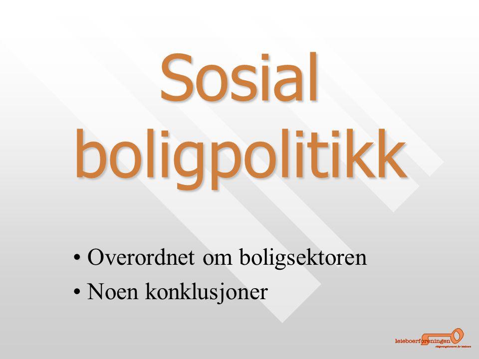 • • Overordnet om boligsektoren • • Noen konklusjoner Sosial boligpolitikk