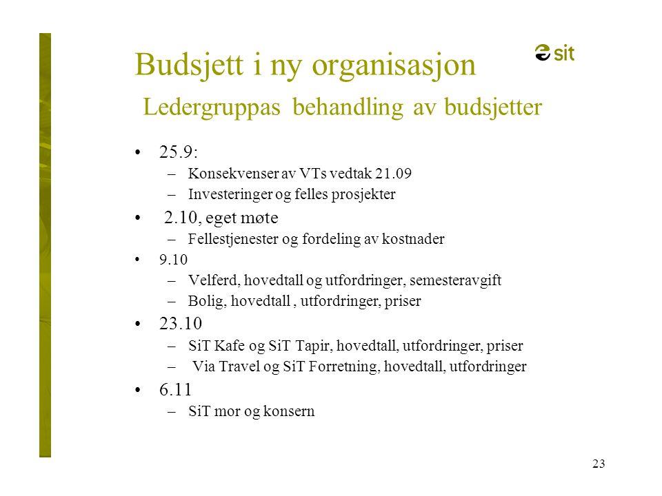 23 Budsjett i ny organisasjon Ledergruppas behandling av budsjetter •25.9: –Konsekvenser av VTs vedtak 21.09 –Investeringer og felles prosjekter • 2.1