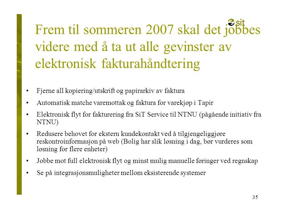 35 Frem til sommeren 2007 skal det jobbes videre med å ta ut alle gevinster av elektronisk fakturahåndtering •Fjerne all kopiering/utskrift og papirar