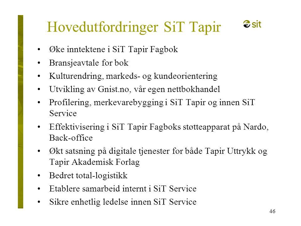 46 Hovedutfordringer SiT Tapir •Øke inntektene i SiT Tapir Fagbok •Bransjeavtale for bok •Kulturendring, markeds- og kundeorientering •Utvikling av Gn