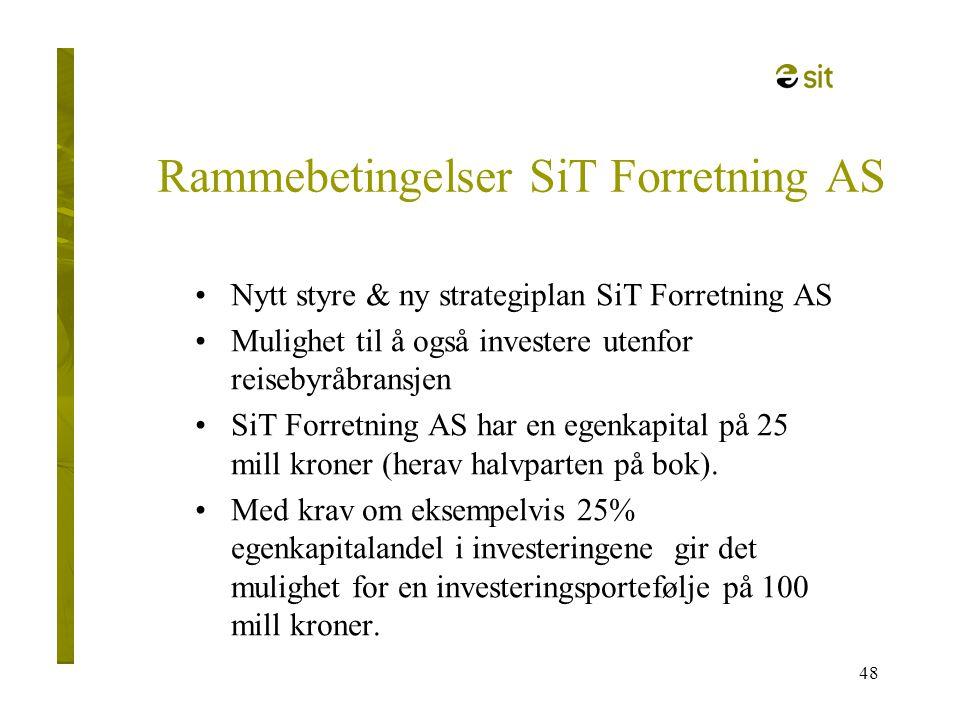 48 Rammebetingelser SiT Forretning AS •Nytt styre & ny strategiplan SiT Forretning AS •Mulighet til å også investere utenfor reisebyråbransjen •SiT Fo