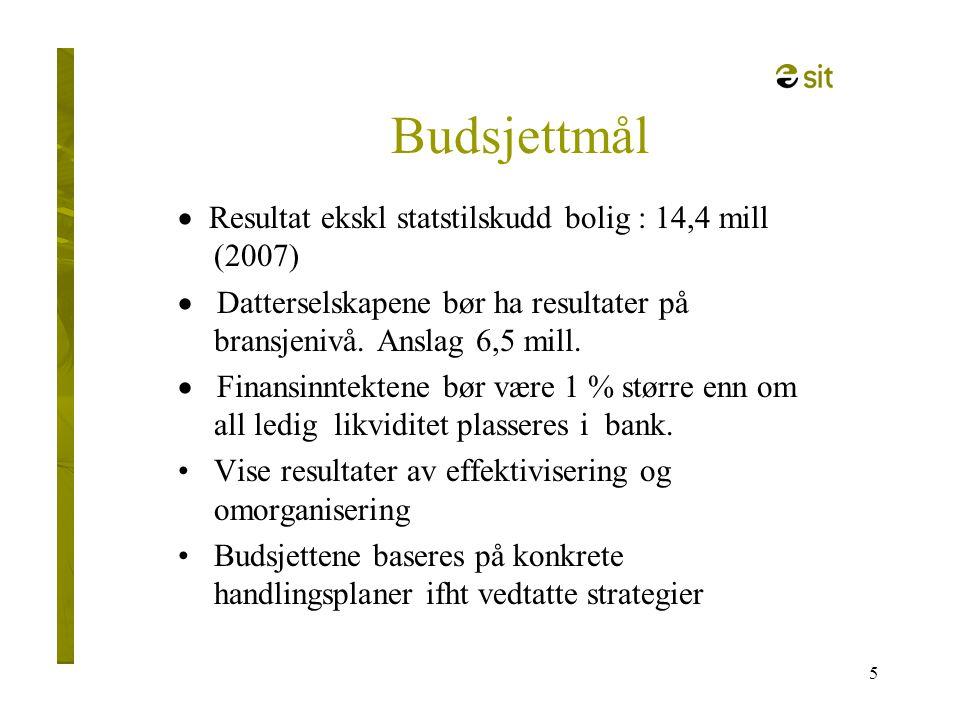 5 Budsjettmål  Resultat ekskl statstilskudd bolig : 14,4 mill (2007)  Datterselskapene bør ha resultater på bransjenivå. Anslag 6,5 mill.  Finansin