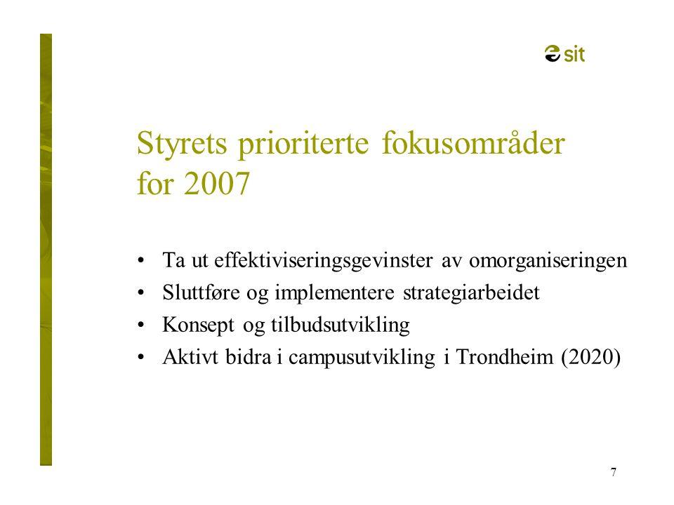 7 Styrets prioriterte fokusområder for 2007 •Ta ut effektiviseringsgevinster av omorganiseringen •Sluttføre og implementere strategiarbeidet •Konsept