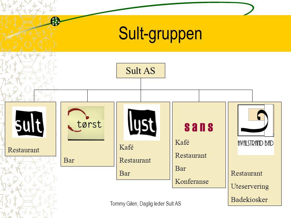 Tommy Gilen, Daglig leder Sult AS2 Sult-gruppen Sult AS Restaurant Bar Kafé Restaurant Bar s a n s Kafé Restaurant Bar Konferanse Restaurant Uteserver
