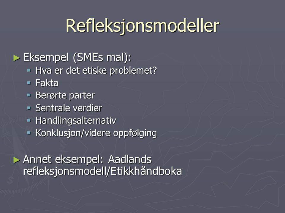 Refleksjonsmodeller ► Eksempel (SMEs mal):  Hva er det etiske problemet.