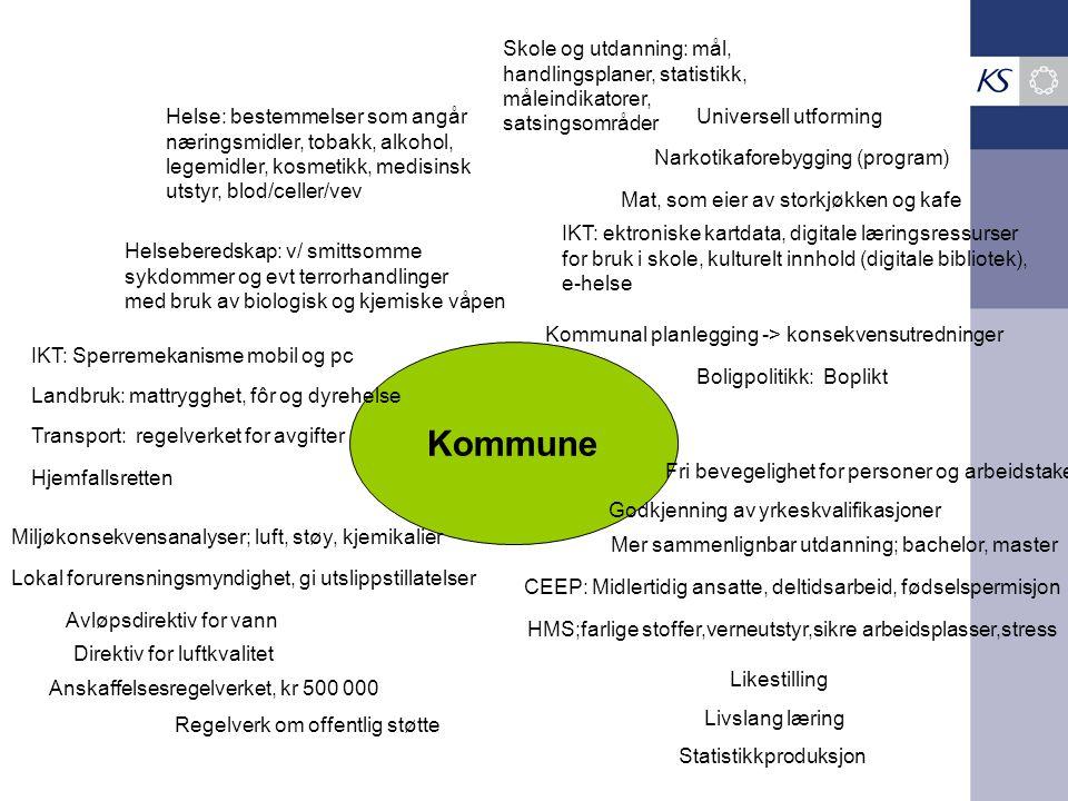 Kommune Skole og utdanning: mål, handlingsplaner, statistikk, måleindikatorer, satsingsområder Helse: bestemmelser som angår næringsmidler, tobakk, al