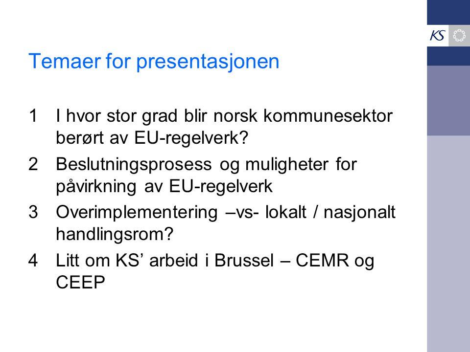 Temaer for presentasjonen 1I hvor stor grad blir norsk kommunesektor berørt av EU-regelverk? 2Beslutningsprosess og muligheter for påvirkning av EU-re