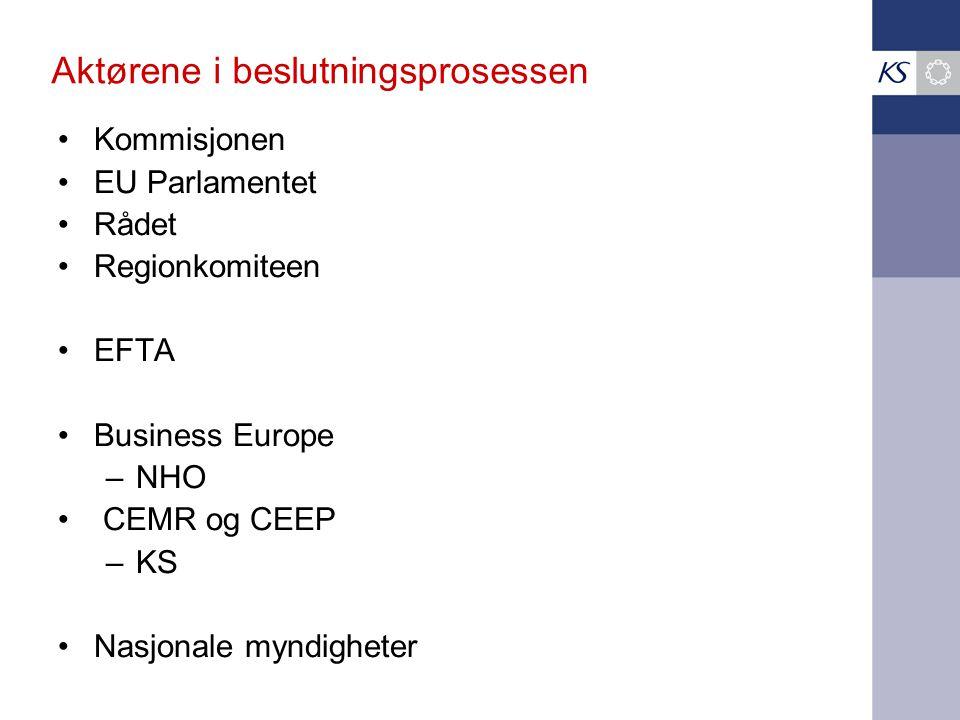 Aktørene i beslutningsprosessen •Kommisjonen •EU Parlamentet •Rådet •Regionkomiteen •EFTA •Business Europe –NHO • CEMR og CEEP –KS •Nasjonale myndighe