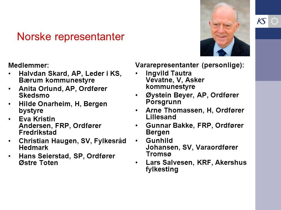 Norske representanter Medlemmer: •Halvdan Skard, AP, Leder i KS, Bærum kommunestyre •Anita Orlund, AP, Ordfører Skedsmo •Hilde Onarheim, H, Bergen bys