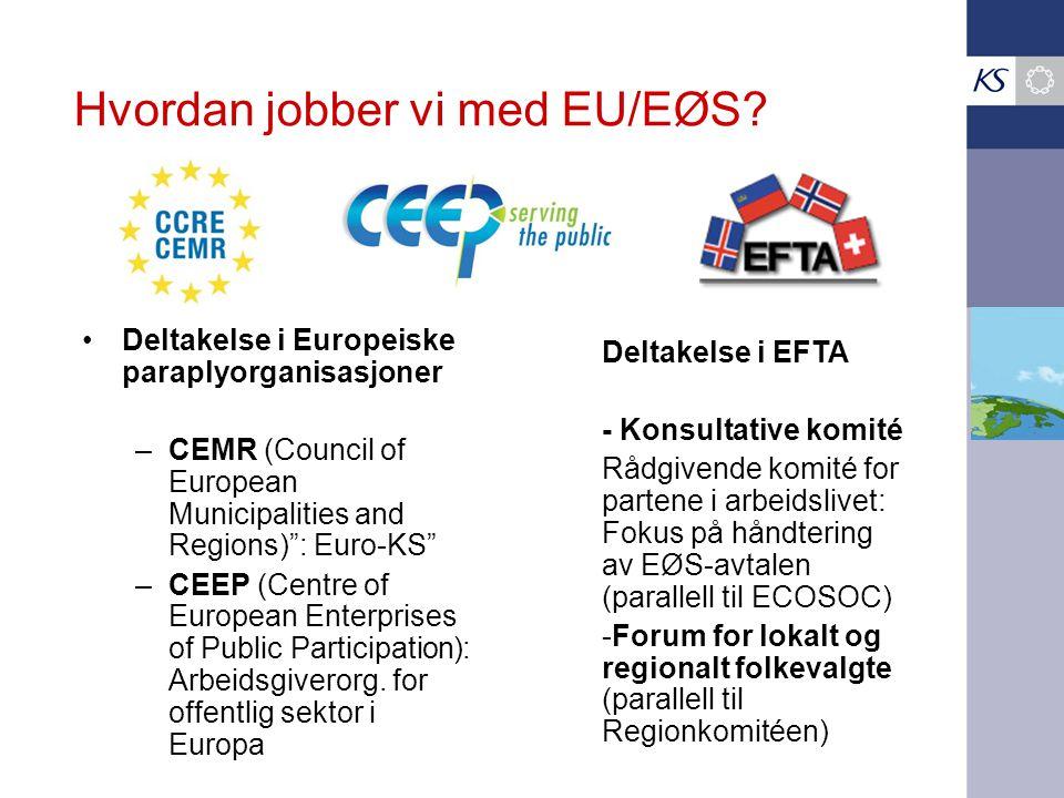 """Hvordan jobber vi med EU/EØS? •Deltakelse i Europeiske paraplyorganisasjoner –CEMR (Council of European Municipalities and Regions)"""": Euro-KS"""" –CEEP ("""