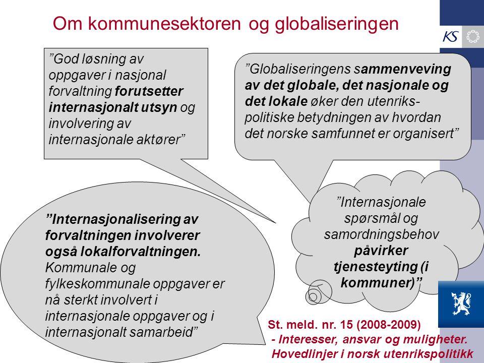 """Om kommunesektoren og globaliseringen """"Globaliseringens sammenveving av det globale, det nasjonale og det lokale øker den utenriks- politiske betydnin"""