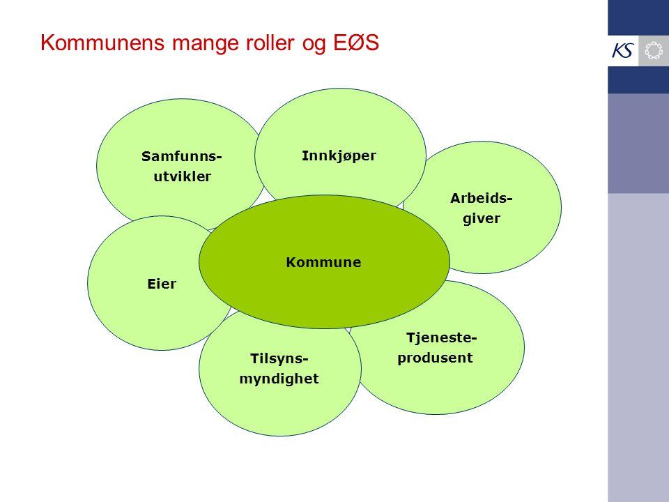 Kommunens mange roller og EØS Tjeneste- produsent Arbeids- giver Samfunns- utvikler Tilsyns- myndighet Eier Innkjøper Kommune