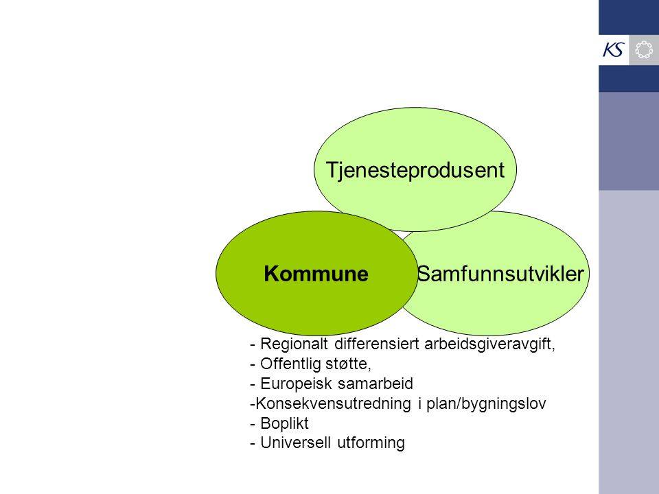 Samfunnsutvikler Tjenesteprodusent Kommune - Regionalt differensiert arbeidsgiveravgift, - Offentlig støtte, - Europeisk samarbeid -Konsekvensutrednin