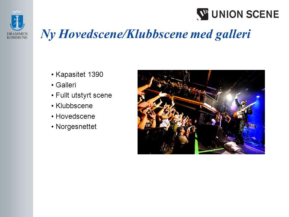 Ny Hovedscene/Klubbscene med galleri • Kapasitet 1390 • Galleri • Fullt utstyrt scene • Klubbscene • Hovedscene • Norgesnettet