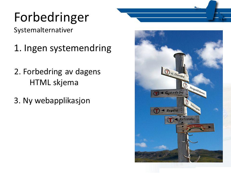 1. Ingen systemendring 2. Forbedring av dagens HTML skjema 3. Ny webapplikasjon Forbedringer Systemalternativer