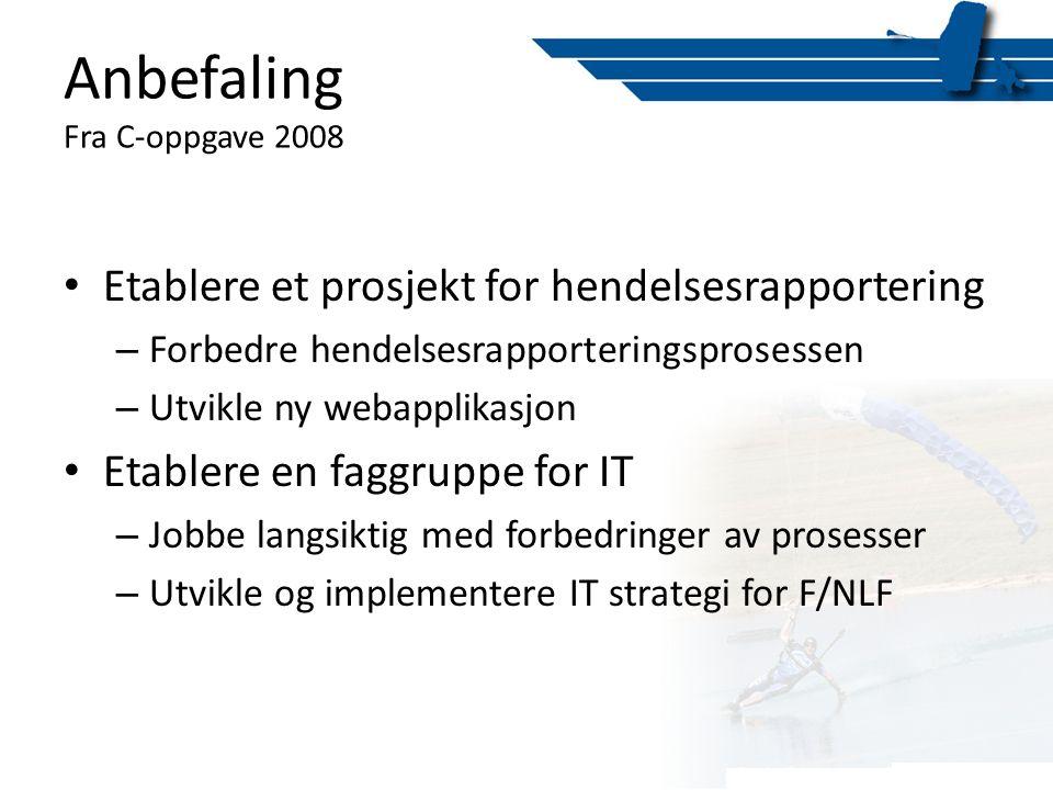 Anbefaling Fra C-oppgave 2008 • Etablere et prosjekt for hendelsesrapportering – Forbedre hendelsesrapporteringsprosessen – Utvikle ny webapplikasjon