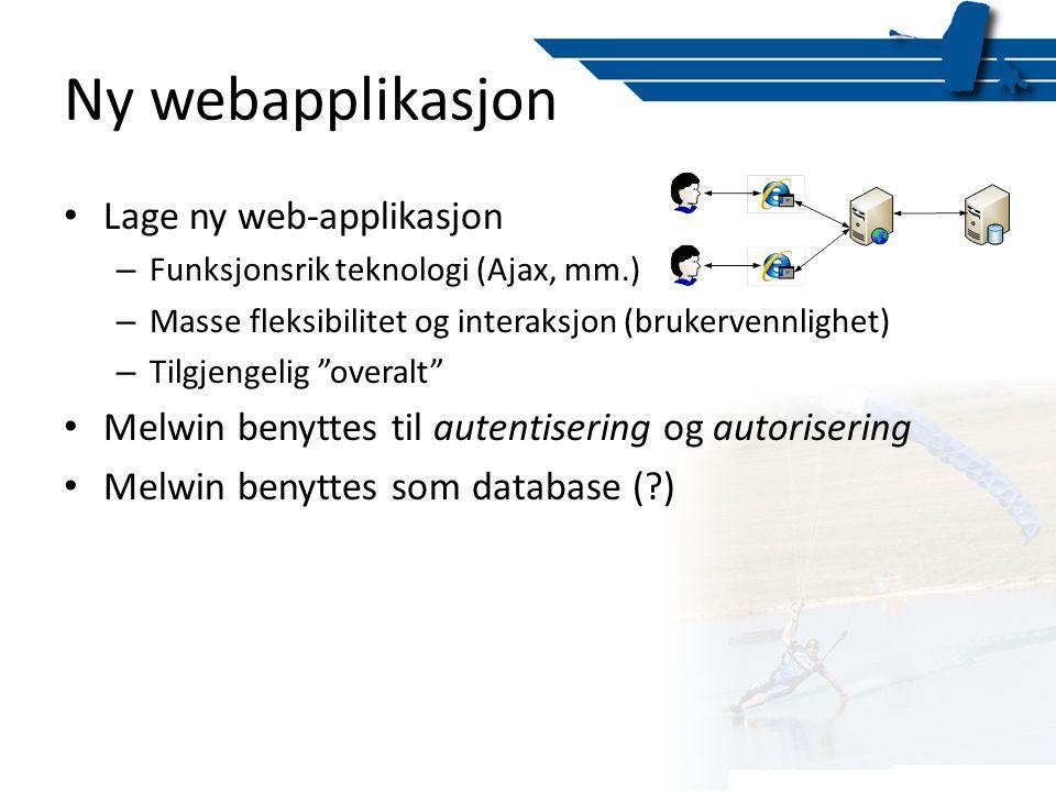 Ny webapplikasjon • Lage ny web-applikasjon – Funksjonsrik teknologi (Ajax, mm.) – Masse fleksibilitet og interaksjon (brukervennlighet) – Tilgjengeli