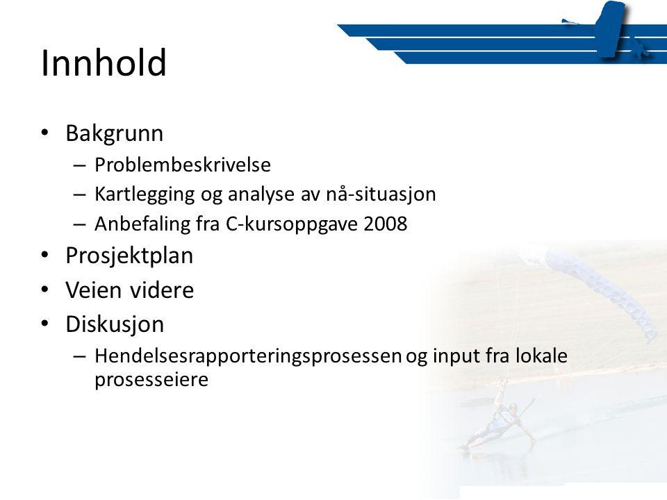 Innhold • Bakgrunn – Problembeskrivelse – Kartlegging og analyse av nå-situasjon – Anbefaling fra C-kursoppgave 2008 • Prosjektplan • Veien videre • D