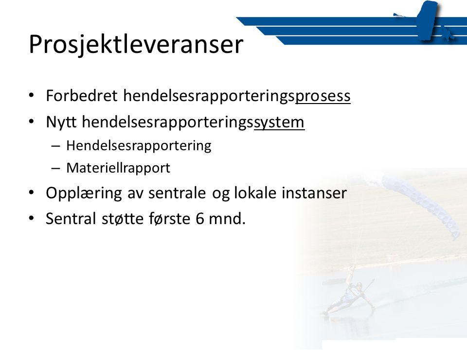 Prosjektleveranser • Forbedret hendelsesrapporteringsprosess • Nytt hendelsesrapporteringssystem – Hendelsesrapportering – Materiellrapport • Opplærin