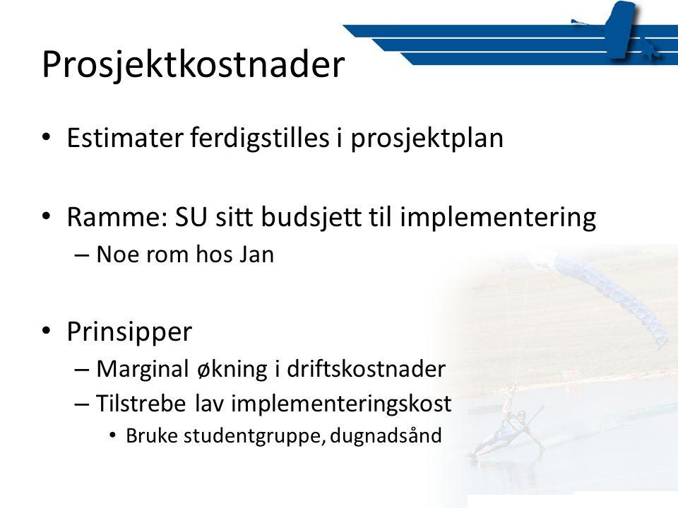 Prosjektkostnader • Estimater ferdigstilles i prosjektplan • Ramme: SU sitt budsjett til implementering – Noe rom hos Jan • Prinsipper – Marginal økni