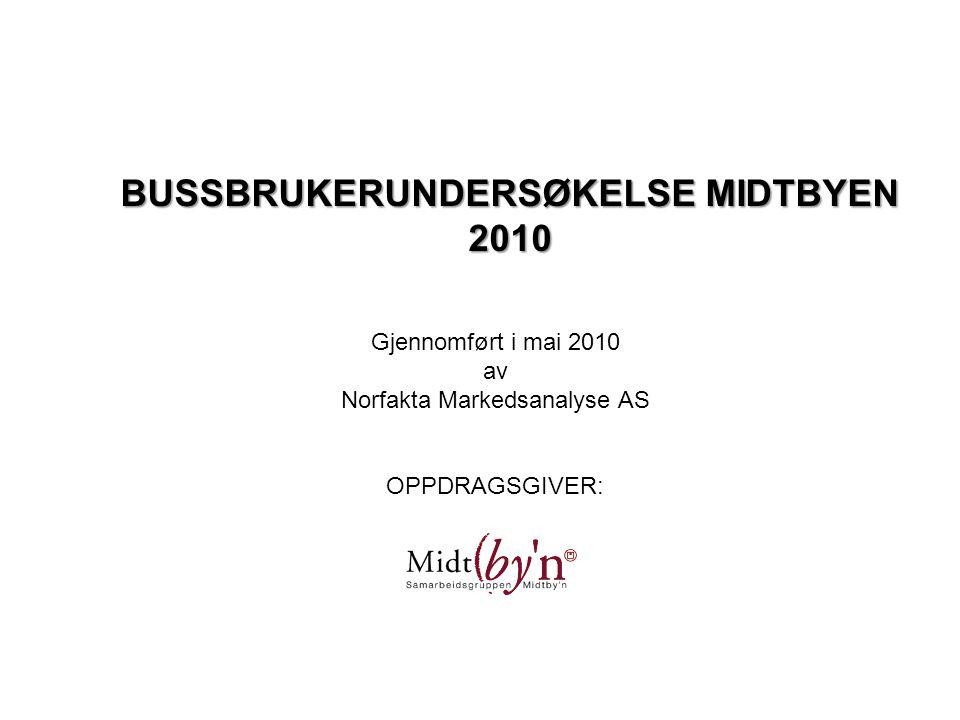 BUSSBRUKERUNDERSØKELSE MIDTBYEN 2010 Gjennomført i mai 2010 av Norfakta Markedsanalyse AS OPPDRAGSGIVER: