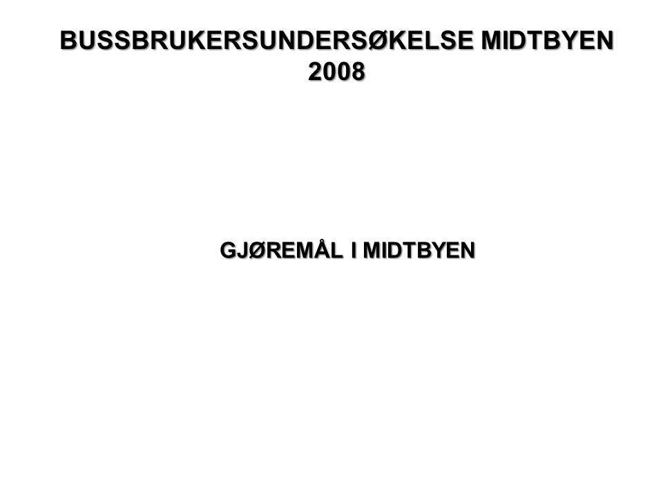 BUSSBRUKERSUNDERSØKELSE MIDTBYEN 2008 GJØREMÅL I MIDTBYEN