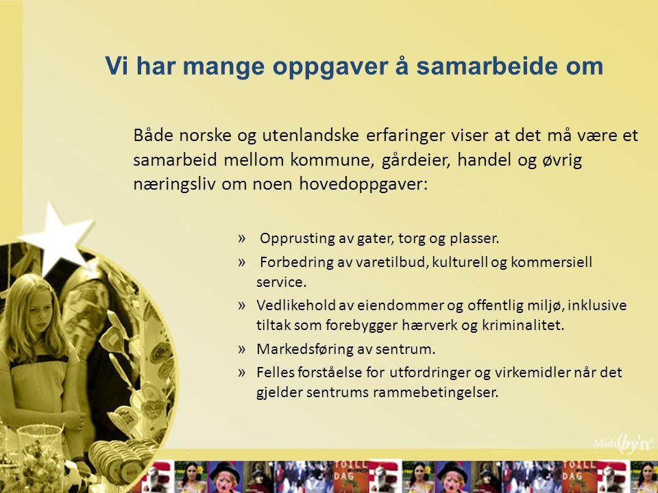 Vi har mange oppgaver å samarbeide om Både norske og utenlandske erfaringer viser at det må være et samarbeid mellom kommune, gårdeier, handel og øvrig næringsliv om noen hovedoppgaver: » Opprusting av gater, torg og plasser.