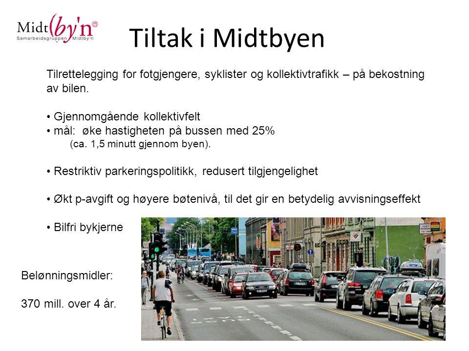 Tiltak i Midtbyen Tilrettelegging for fotgjengere, syklister og kollektivtrafikk – på bekostning av bilen.