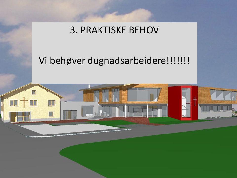 3. PRAKTISKE BEHOV Vi behøver dugnadsarbeidere!!!!!!!