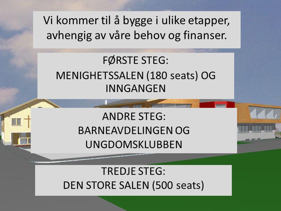 FØRSTE STEG: MENIGHETSSALEN (180 seats) OG INNGANGEN ANDRE STEG: BARNEAVDELINGEN OG UNGDOMSKLUBBEN Vi kommer til å bygge i ulike etapper, avhengig av