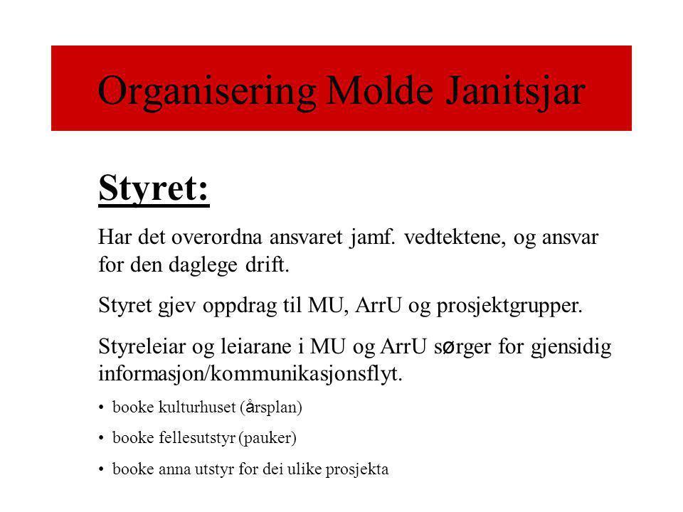 Organisering Molde Janitsjar Styret: Har det overordna ansvaret jamf.