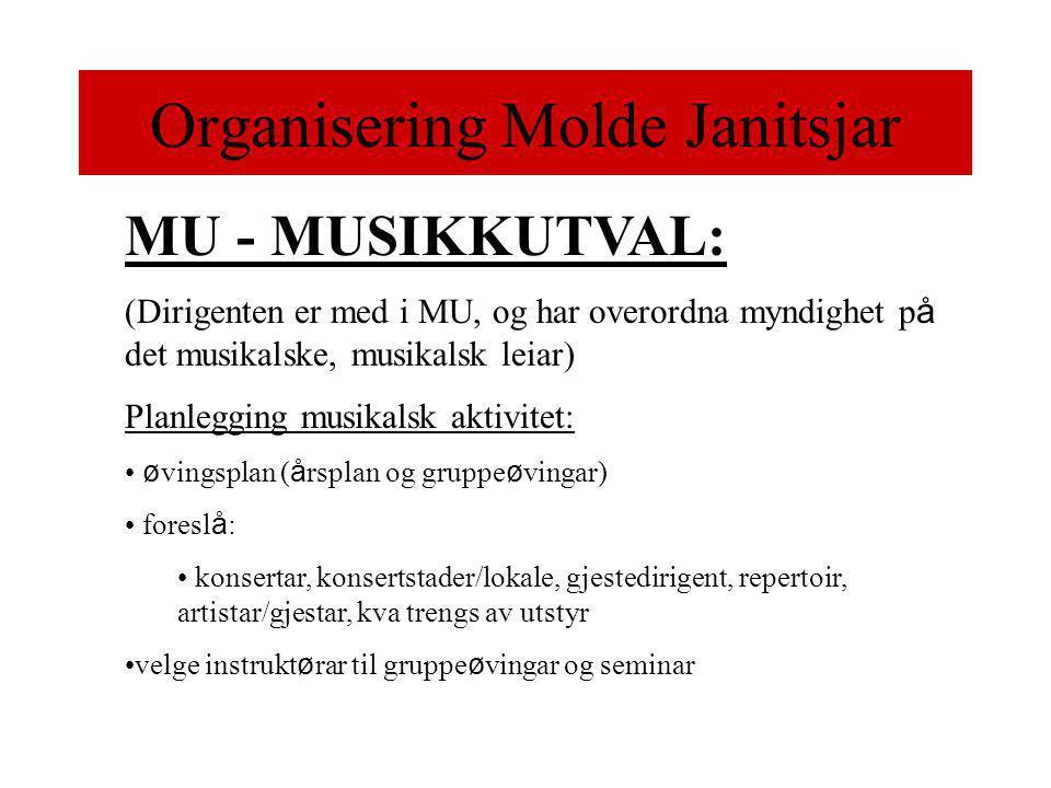 Organisering Molde Janitsjar MU - MUSIKKUTVAL: (Dirigenten er med i MU, og har overordna myndighet p å det musikalske, musikalsk leiar) Planlegging musikalsk aktivitet: • ø vingsplan ( å rsplan og gruppe ø vingar) • foresl å : • konsertar, konsertstader/lokale, gjestedirigent, repertoir, artistar/gjestar, kva trengs av utstyr •velge instrukt ø rar til gruppe ø vingar og seminar