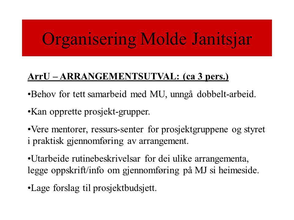 Organisering Molde Janitsjar ArrU – ARRANGEMENTSUTVAL: (ca 3 pers.) •Behov for tett samarbeid med MU, unngå dobbelt-arbeid.