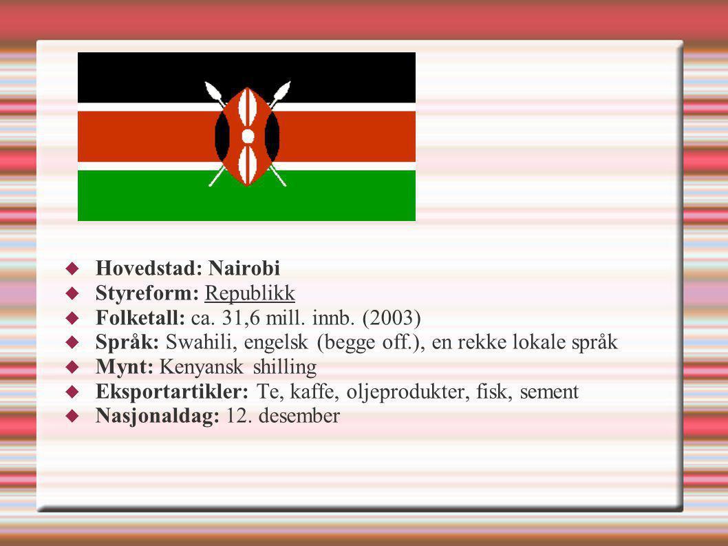  Hovedstad: Nairobi  Styreform: Republikk  Folketall: ca. 31,6 mill. innb. (2003)  Språk: Swahili, engelsk (begge off.), en rekke lokale språk  M