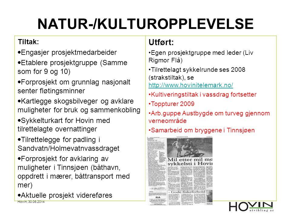 Hovin, 30.06.2014 NATUR-/KULTUROPPLEVELSE Tiltak:  Engasjer prosjektmedarbeider  Etablere prosjektgruppe (Samme som for 9 og 10)  Forprosjekt om gr