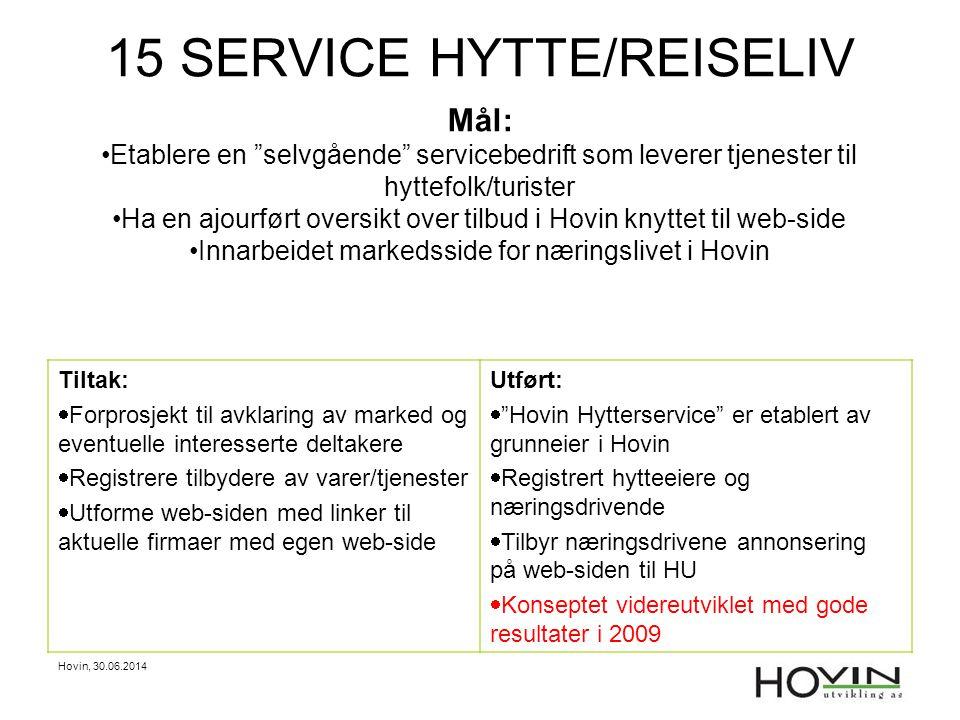 """Hovin, 30.06.2014 15 SERVICE HYTTE/REISELIV Mål: •Etablere en """"selvgående"""" servicebedrift som leverer tjenester til hyttefolk/turister •Ha en ajourfør"""