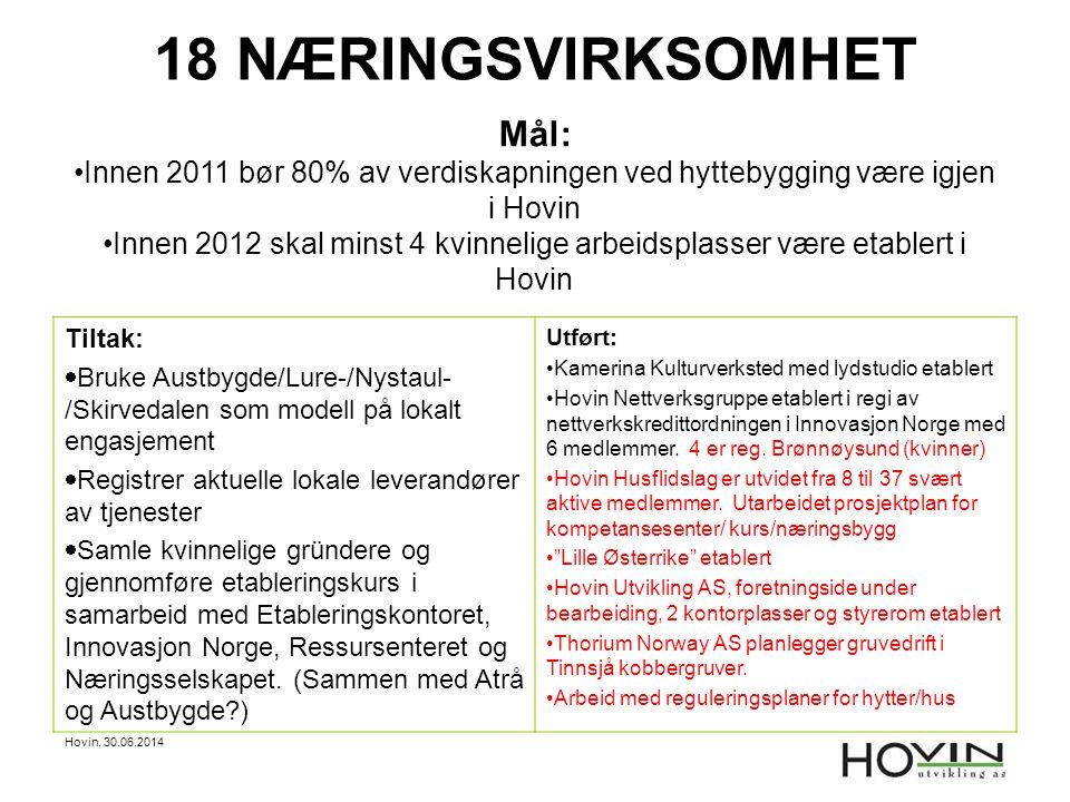 Hovin, 30.06.2014 18 NÆRINGSVIRKSOMHET Mål: •Innen 2011 bør 80% av verdiskapningen ved hyttebygging være igjen i Hovin •Innen 2012 skal minst 4 kvinne