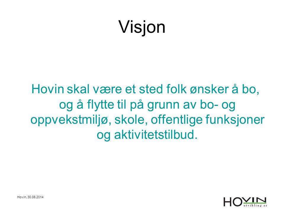 Hovin, 30.06.2014 1WEB-SIDE Mål •Være den viktigste informasjonskilde for Hovin •Skal markedsføre Hovin •Alltid oppdatert på nyheter fra Hovin og prosjektet.