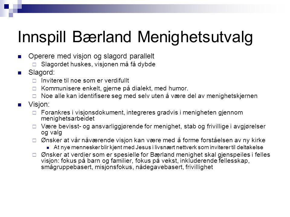 Innspill Bærland Menighetsutvalg  Operere med visjon og slagord parallelt  Slagordet huskes, visjonen må få dybde  Slagord:  Invitere til noe som