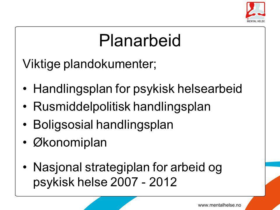Planarbeid Viktige plandokumenter; •Handlingsplan for psykisk helsearbeid •Rusmiddelpolitisk handlingsplan •Boligsosial handlingsplan •Økonomiplan •Na