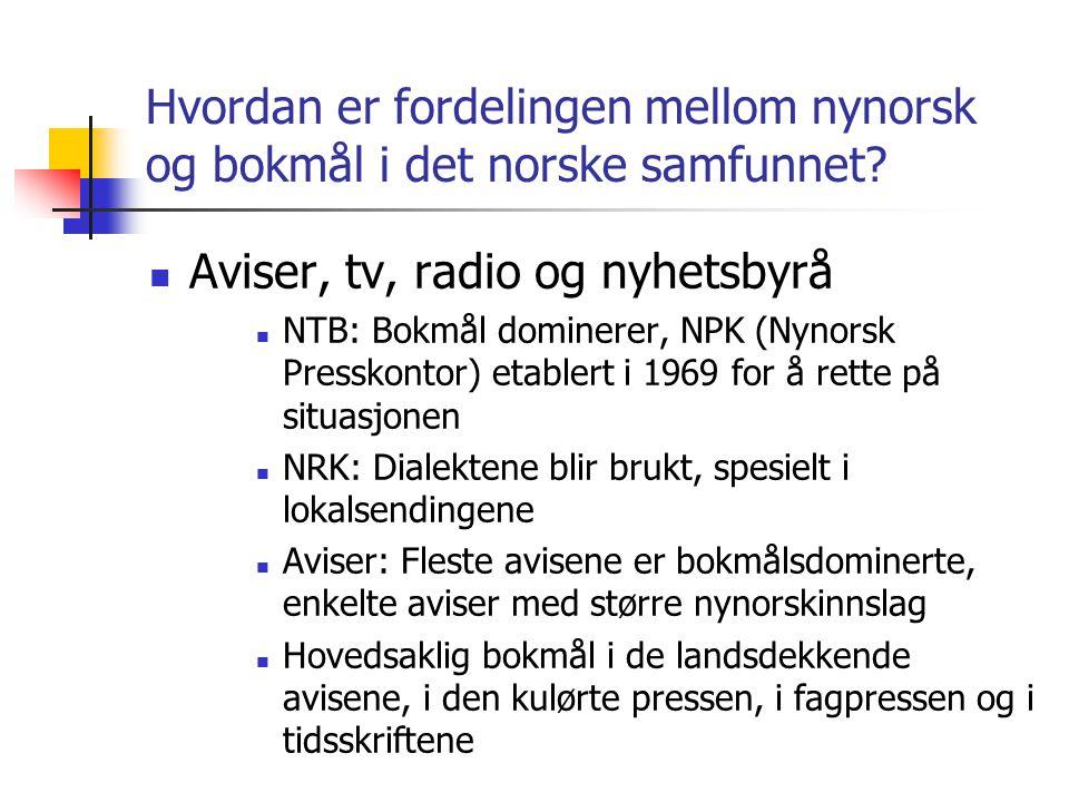 Hvordan er fordelingen mellom nynorsk og bokmål i det norske samfunnet?  Aviser, tv, radio og nyhetsbyrå  NTB: Bokmål dominerer, NPK (Nynorsk Pressk