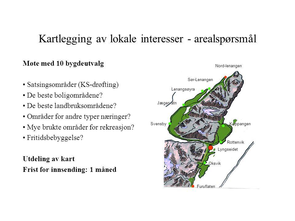 Kartlegging av lokale interesser - arealspørsmål Lenangsøyra Lyngseidet Nord-lenangen Koppangen Oksvik Furuflaten Svensby Jægervatn Rottenvik Sør-Lena
