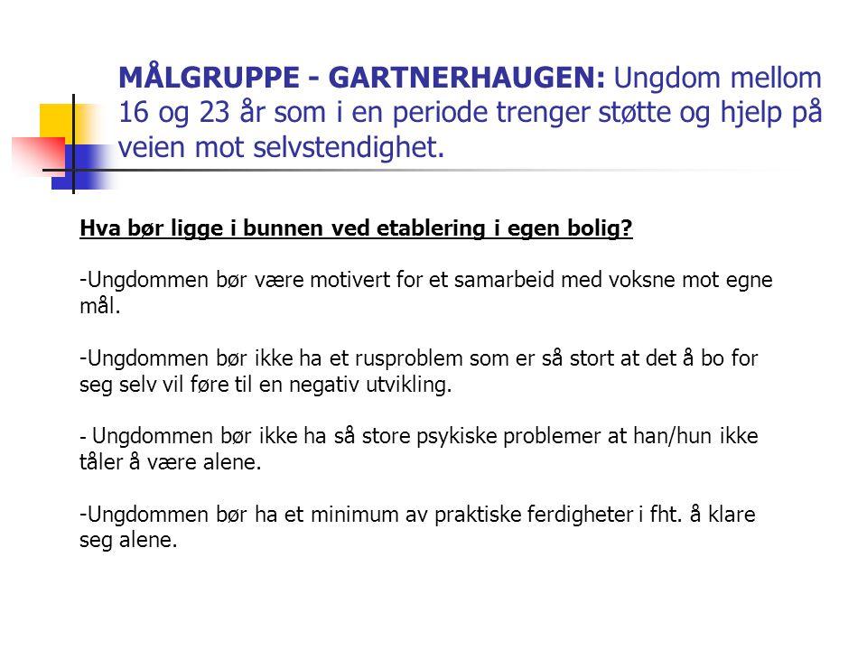 MÅLGRUPPE - GARTNERHAUGEN: Ungdom mellom 16 og 23 år som i en periode trenger støtte og hjelp på veien mot selvstendighet.