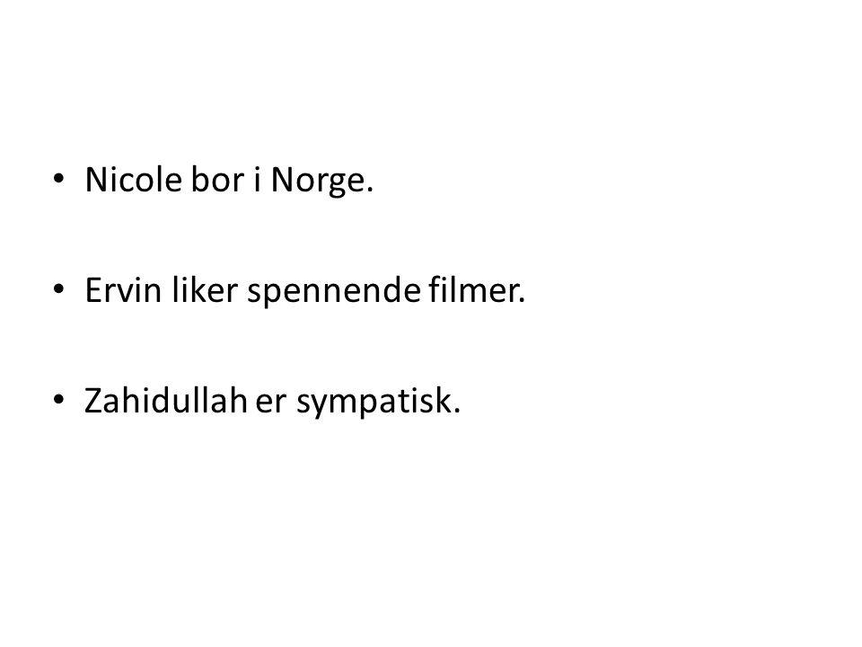 • Nicole bor i Norge. • Ervin liker spennende filmer. • Zahidullah er sympatisk.